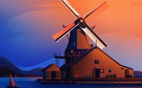 Picture the sky, lake, house, boat, sailboat, pier, the barn, mill, twilight, illustration