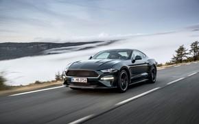 Picture asphalt, clouds, Mustang, Ford, 2018, Bullitt, fastback