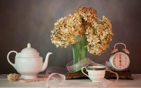 Picture bouquet, kettle, alarm clock, hydrangea