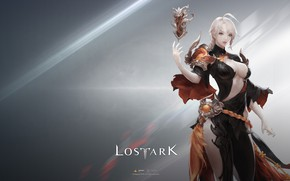 Wallpaper girl, game, magic, elf, magician, simple background, Lost Ark