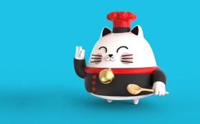 Picture art, spoon, cook, chief, Sensei Cat, Pablo Susskind