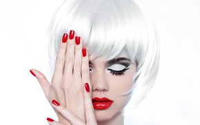 Picture girl, style, model, portrait, makeup, the blonde, manicure