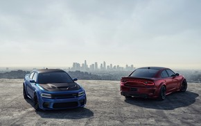 Picture Red, Auto, Blue, Machine, Car, Car, Render, Dodge Charger, Hellcat, Rendering, SRT, Sports car, Dodge …