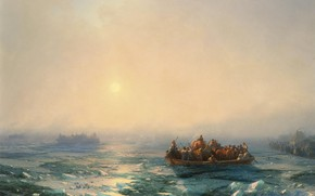 Picture boat, picture, Ivan Aivazovsky, 1872, The ice on the river