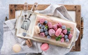 Picture berries, cookies, strawberry, plate, ice cream, dessert, BlackBerry, Natasha Breen, almond