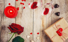 Picture gift, roses, candle, petals, heart