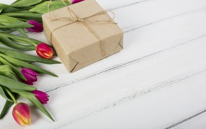 Picture gift, tulips, wood, tulip