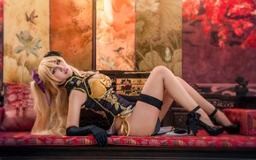 Picture look, girl, face, sexy, pose, style, background, room, sofa, feet, furniture, interior, hands, blonde, costume, …