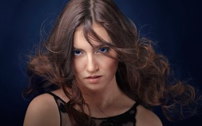 Picture look, face, background, hair, portrait, blue eyes, curls, Elina Sufyanova, Andrey Putilin