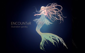 Picture girl, mermaid, anime, art, under water, goroku