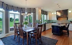 Picture design, interior, kitchen, cozy, dining room