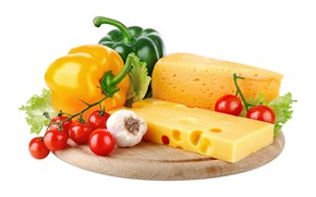 Picture cheese, Board, pepper, vegetables, tomatoes