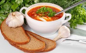 Picture greens, bread, bowl, soup, garlic, слюни текут