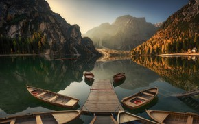 Picture autumn, forest, water, trees, lake, rocks, dawn, boat, Materov.