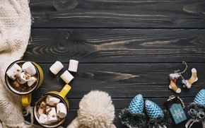 Picture winter, holiday, hat, toys, new year, scarf, wood, decor, hot chocolate, New year, marshmallows