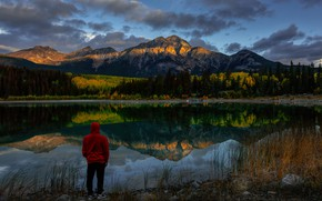 Picture grass, landscape, mountains, nature, lake, reflection, stones, morning, Canada, Albert, male, Jasper, forest, Bank, national …