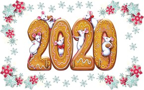 Picture holiday, new year, mouse, 2020, ginger biscuits, new year 2020