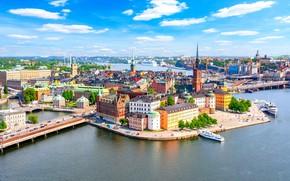 Picture water, building, Stockholm, Sweden