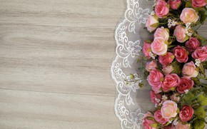 Picture flowers, roses, wood, pink, flowers, roses