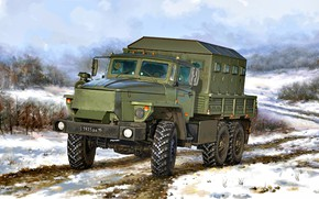 Picture Snow, Russia, Star-, Ural-4320, Army truck