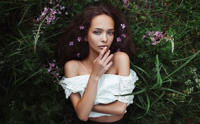 Wallpaper grass, look, girl, flowers, face, mood, hand, portrait, shoulders, Zlobin Awesome, Valery Zlobin, Vita