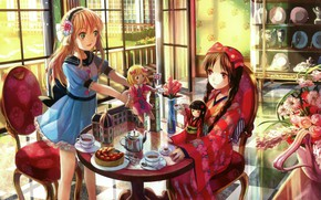 Picture doll, chair, the tea party, dishes, kimono, a bouquet of flowers, play, in the room, …