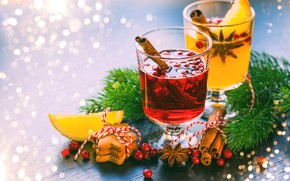 Picture holiday, cookies, New year, cinnamon, composition, mulled wine