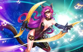 Picture cat, girl, weapons, the game, saber, kitty, King Of Glory, The king of glory