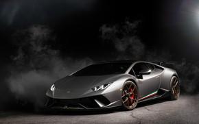 Picture Lamborghini, Light, Smoke, Gray, VAG, Performante, Huracan, Sight, LED, Darknes