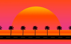Picture The sun, Road, Music, Star, Style, Palm trees, Background, 80s, Sun, Style, Neon, Illustration, 80's, …