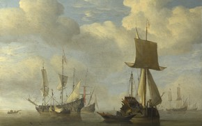 Picture ship, picture, sail, Willem van de Velde the Younger, An English Vessel and Dutch Ships …