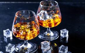 Picture glass, cognac, brandy, cube, ice