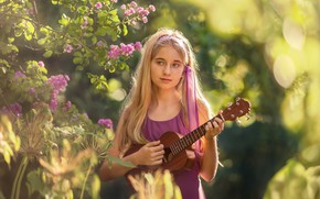 Picture guitar, portrait, girl
