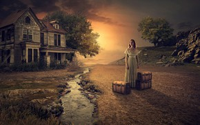 Picture girl, sunset, house, suitcase, photo art