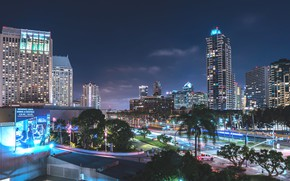 Picture night, lights, CA, USA, San Diego