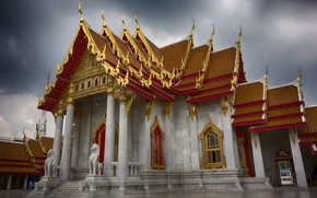 Picture the city, gold, temple, Thailand, Bangkok