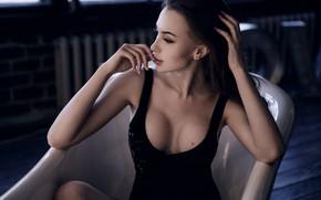 Picture chest, look, hair, Girl, bathroom, mole, body, Alexey Starski