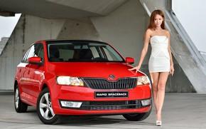 Picture look, Girls, Asian, beautiful girl, Skoda, red car, posing on the car
