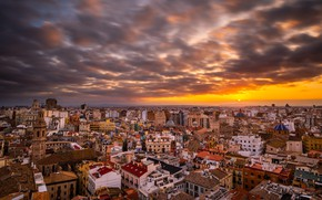 Picture sunset, the city, Valencia