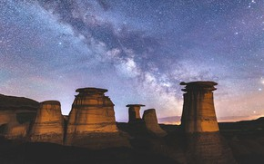 Picture the sky, stars, Canada, Albert, The Milky Way, Badlands, Drumeler