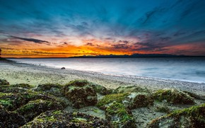 Picture the sky, landscape, sunset, nature, stones, coast