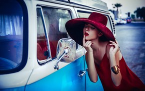 Picture girl, pose, style, model, hat, hands, minibus, the mirror, Axe, Ruslan Bolgov, Ausra Agintaite