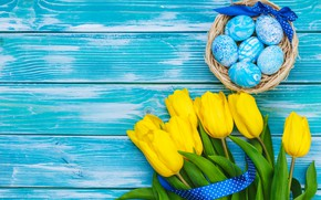 Picture flowers, eggs, bouquet, yellow, colorful, Easter, tulips, happy, yellow, wood, flowers, tulips, Easter, eggs, decoration