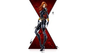 Picture girl, fantasy, minimalism, blue eyes, Marvel, comics, redhead, digital art, artwork, suit, Black Widow, superhero, …