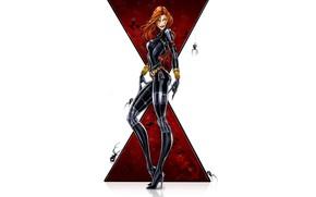 Picture girl, fantasy, minimalism, blue eyes, Marvel, comics, redhead, digital art, artwork, suit, Black Widow, superhero, …