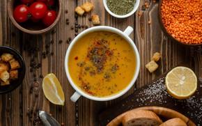 Picture lemon, plate, bread, soup, tomatoes, tomatoes, spices, salt, lentils