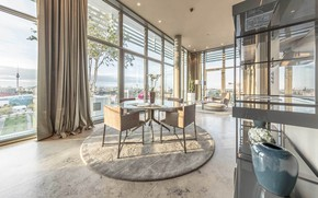 Picture interior, penthouse, megapolis, living room, dining room, penthouse in Berlin