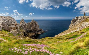 Picture sea, flowers, France, Brittany, Pointe de Pen-Hir, The monument to the Bretons of Free France