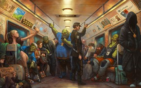 Picture metro, elf, train, art, Gollum, The Lord of the rings, dwarf, the hobbit, Orc, Troll, …
