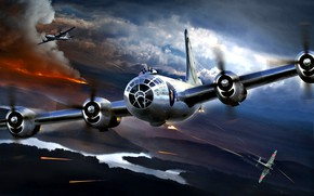 Picture fire, smoke, theatre, Boeing, bomber, Superfortress, Japanese, fighter-interceptor, American, heavy, B-29, The second World war, …